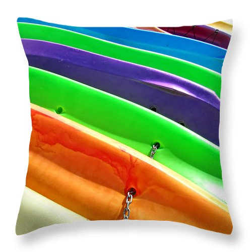 Kayak Throw Pillow featuring the photograph Waiting Kayaks by Mark Sellers