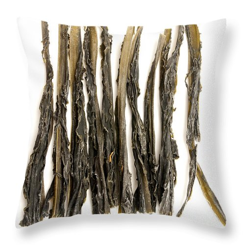 White Background Throw Pillow featuring the photograph Wakame by Fabrizio Troiani