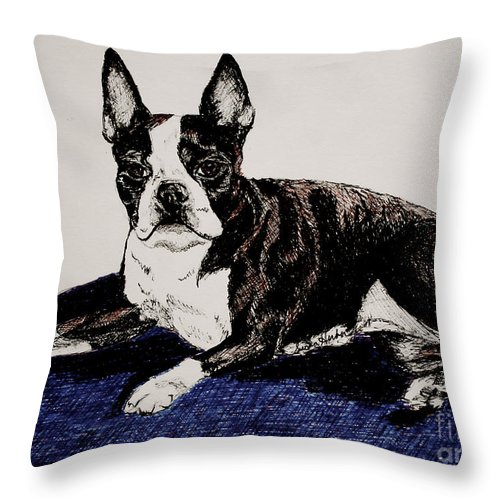 Canine Throw Pillow featuring the drawing Wake Up by Susan Herber