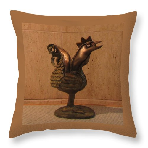 Wakeup Throw Pillow featuring the sculpture Wakeup Call Rooster Bronze Sculpture With Beak Feathers Tail Brass And Opaque Surface by Rachel Hershkovitz