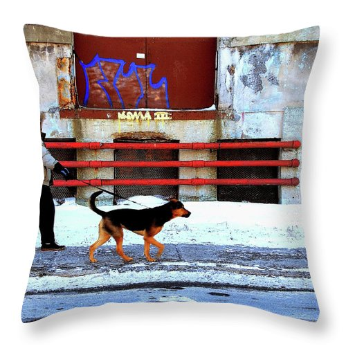 Man Walking Dog Throw Pillow featuring the photograph Walk On The Cold Side by Burney Lieberman