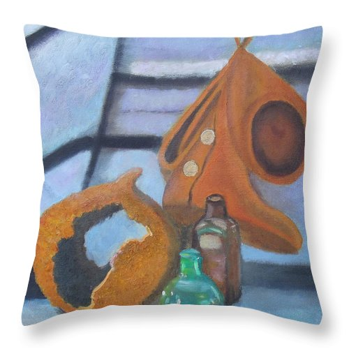 Moccasins Throw Pillow featuring the painting Walk Softly by Margaret Harmon