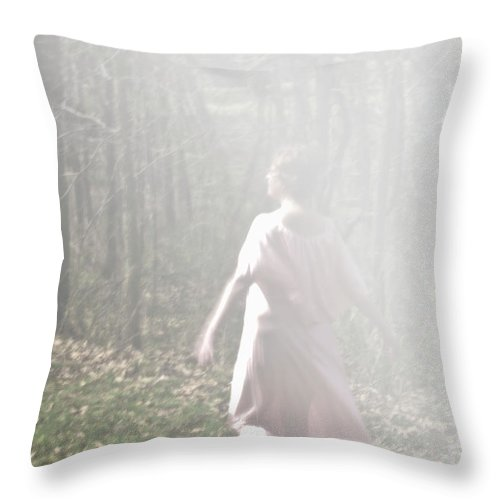 Woman Throw Pillow featuring the photograph Walking Into The Fog by Carolyn Fox