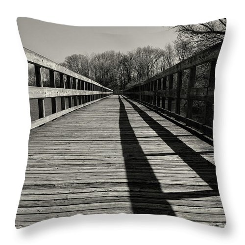 Boardwalk Throw Pillow featuring the photograph Walking The Lines by Rachel Cohen