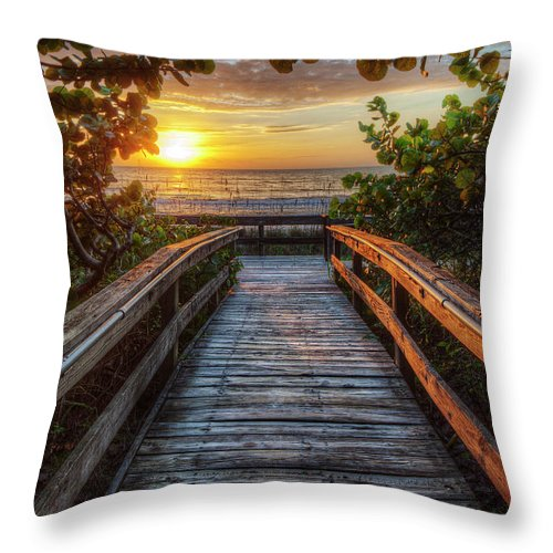 Boardwalk Throw Pillow featuring the photograph walkway to Paradise by Nick Shirghio