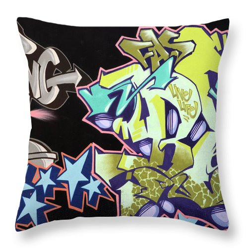 Graffiti Throw Pillow featuring the photograph Wall Art by Bob Christopher
