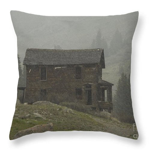 Silverton Throw Pillow featuring the photograph Walsh-duncan House In Storm by Tim Mulina