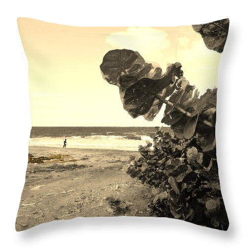 St Kitts Throw Pillow featuring the photograph Warm Butter Sky by Ian MacDonald
