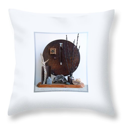 Assemblage Sculptures Throw Pillow featuring the sculpture Warzawa by Snake Jagger