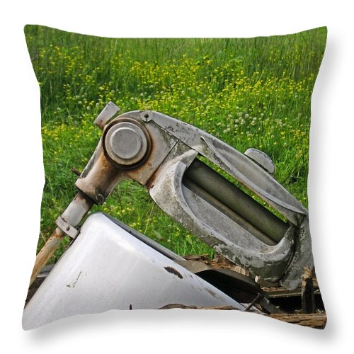 Antique Throw Pillow featuring the photograph Wash Day by Susan Leggett