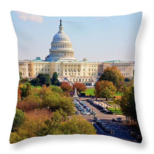 Washington Throw Pillow featuring the photograph Washington by Burney Lieberman
