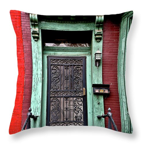 Throw Pillow featuring the photograph Washington Doorway by Burney Lieberman