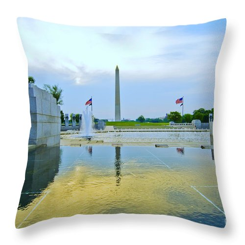 Ww Ii Memorial Throw Pillow featuring the photograph Washington Monument And The World War II Memorial by Jim Moore