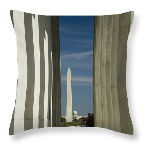 Washington Dc Throw Pillow featuring the photograph Washington Monument Framed By Lincoln Memorial by Tim Mulina