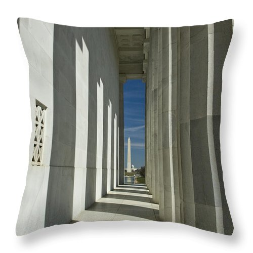 Washington Dc Throw Pillow featuring the photograph Washington Monument From Lincoln Memorial by Tim Mulina