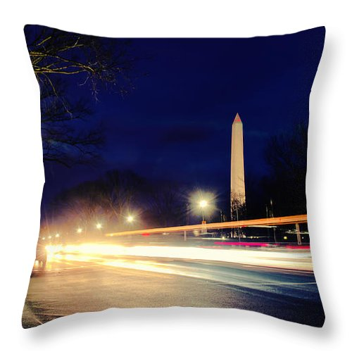 Washington Monument Throw Pillow featuring the photograph Washington Monument On A Rainy Rush Hour by Jim Moore