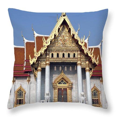 Bangkok Throw Pillow featuring the photograph Wat Benchamabophit Ubosot Dthb180 by Gerry Gantt