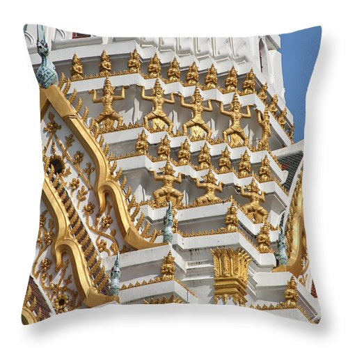 Bangkok Throw Pillow featuring the photograph Wat Phitchaya Yatikaram Central Prang Dthb1191 by Gerry Gantt