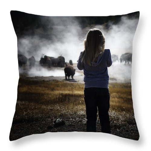 Girl Throw Pillow featuring the photograph Watching The Bison by Carolyn Fox