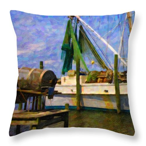 Ship Throw Pillow featuring the digital art Watching Within A Frame by Betsy Knapp