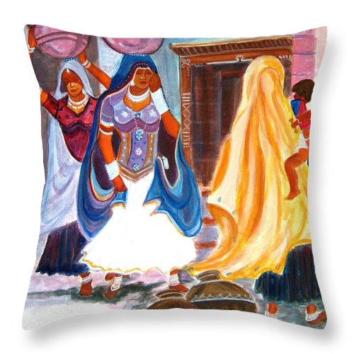 Tribal Throw Pillow featuring the painting Water Belles by Manjiri Kanvinde