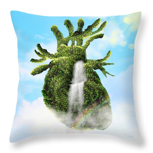 Water From The Heart Throw Pillow featuring the digital art Water From The Heart by Mo T