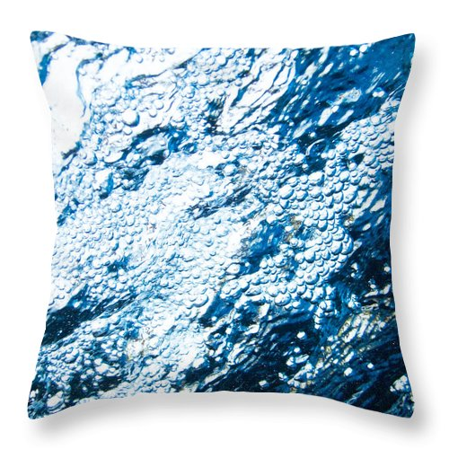 Abstract Throw Pillow featuring the photograph Water In A Pool Which Lock Like A Frozen Water Stream Of A River by U Schade