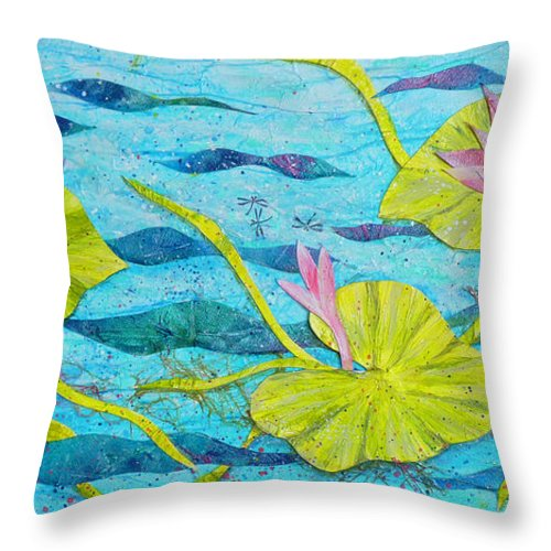 Flower Throw Pillow featuring the painting Water Lilies Panorama by Carla Parris