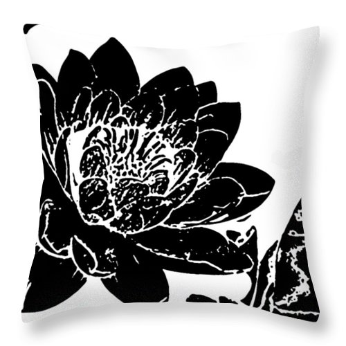 Black Throw Pillow featuring the photograph Water Lily Black And White by Stephanie Haertling