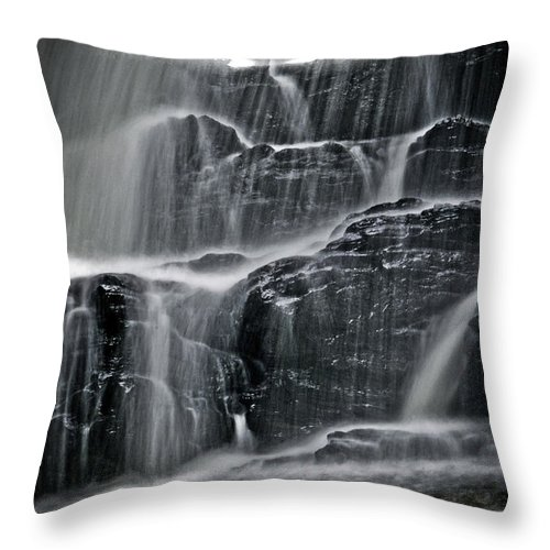 Landscape Throw Pillow featuring the photograph Water Over Wahconah Falls by Mike Martin