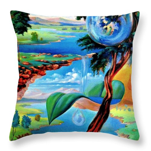 Throw Pillow featuring the painting Water Planet by Leomariano artist BRASIL