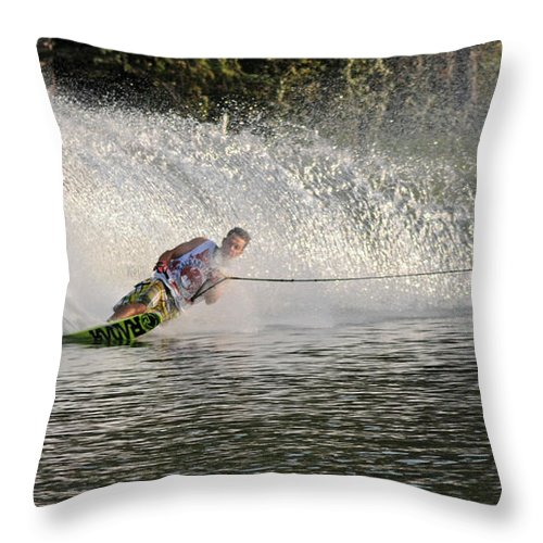 Water Skiing Throw Pillow featuring the photograph Water Skiing 14 by Vivian Christopher