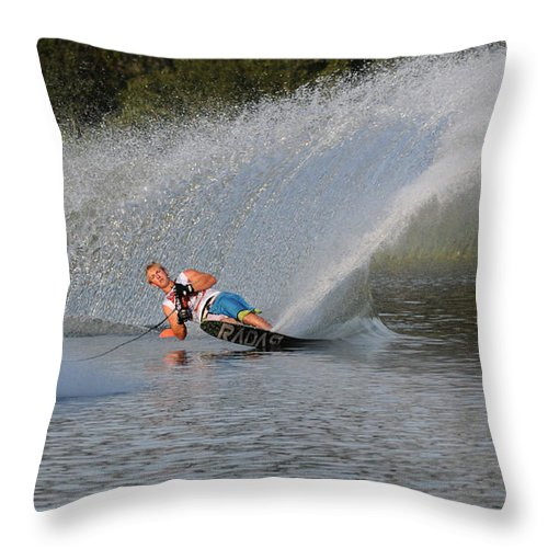 Water Skiing Throw Pillow featuring the photograph Water Skiing 15 by Vivian Christopher