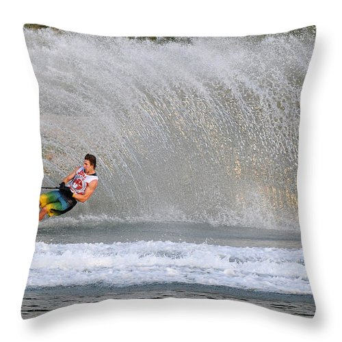 Water Skiing Throw Pillow featuring the photograph Water Skiing 16 by Vivian Christopher