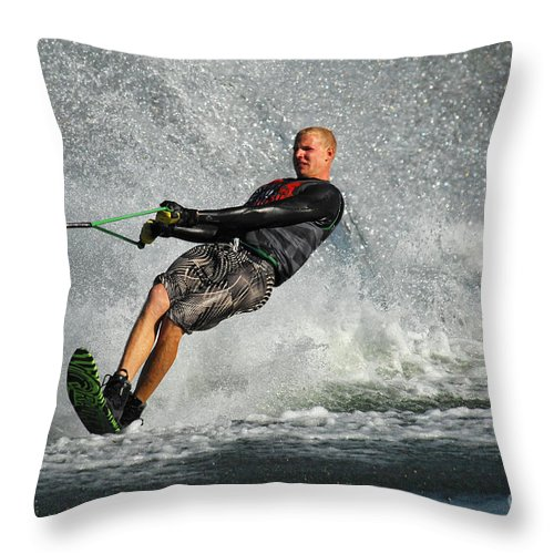 Water Skiing Throw Pillow featuring the photograph Water Skiing Magic Of Water 20 by Bob Christopher