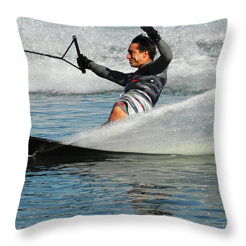 Water Skiing Throw Pillow featuring the photograph Water Skiing Magic Of Water 22 by Bob Christopher