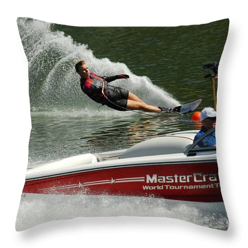 Water Skiing Throw Pillow featuring the photograph Water Skiing Magic Of Water 26 by Bob Christopher