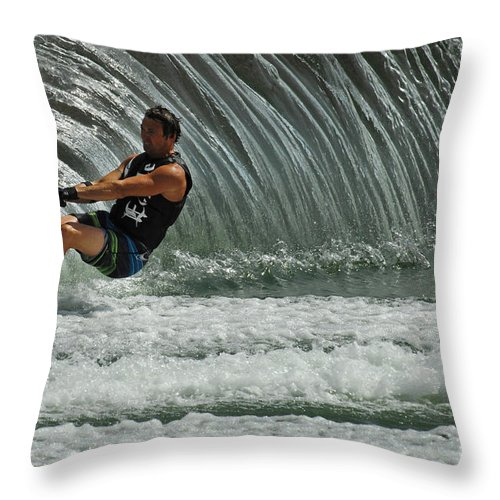 Water Skiing Throw Pillow featuring the photograph Water Skiing Magic Of Water 3 by Bob Christopher