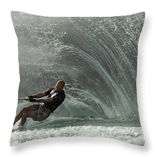 Water Skiing Throw Pillow featuring the photograph Water Skiing Magic Of Water 31 by Bob Christopher