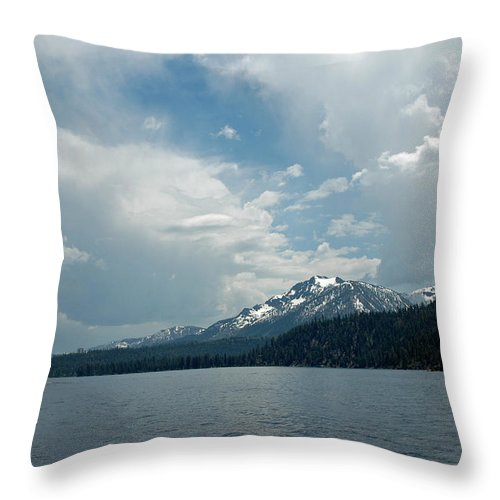 Usa Throw Pillow featuring the photograph Water Snow Vapor Lake Tahoe by LeeAnn McLaneGoetz McLaneGoetzStudioLLCcom