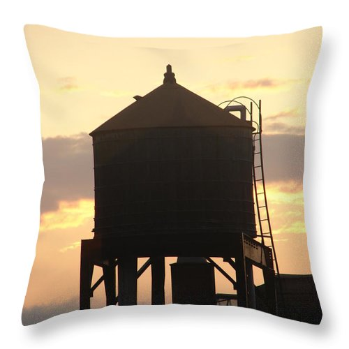 Water Throw Pillow featuring the photograph Water Tower At Sunset by Artie Wallace