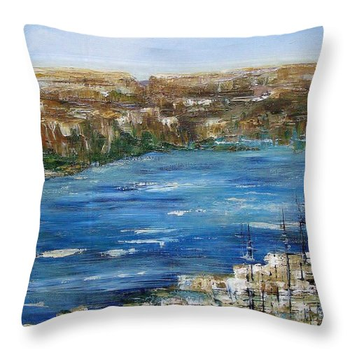 Landscape In Acrylics Throw Pillow featuring the painting Water Way by Elaine Booth-Kallweit
