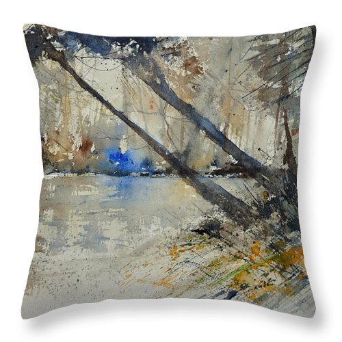 Landscape Throw Pillow featuring the painting Watercolor 119080 by Pol Ledent
