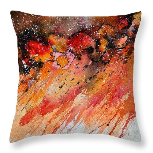 Abstract Throw Pillow featuring the painting Watercolor 212022 by Pol Ledent