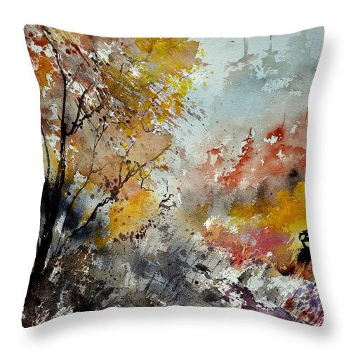 Landscape Throw Pillow featuring the painting Watercolor 218022 by Pol Ledent