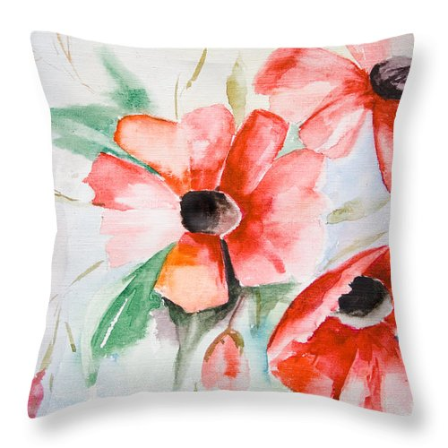Backdrop Throw Pillow featuring the painting Watercolor Poppy Flower by Regina Jershova