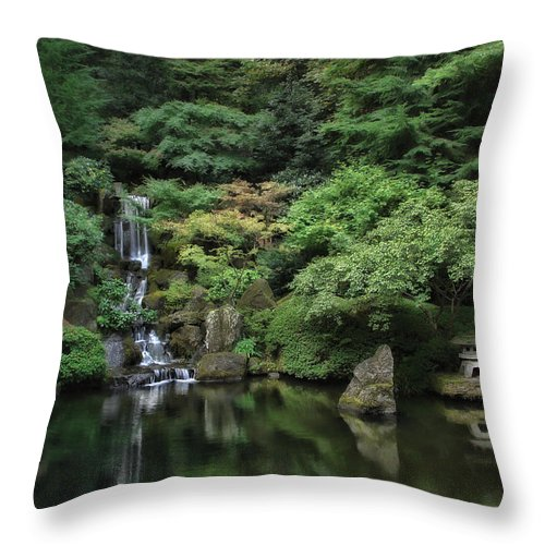 Japan Throw Pillow featuring the photograph Waterfall - Portland Japanese Garden - Oregon by Daniel Hagerman