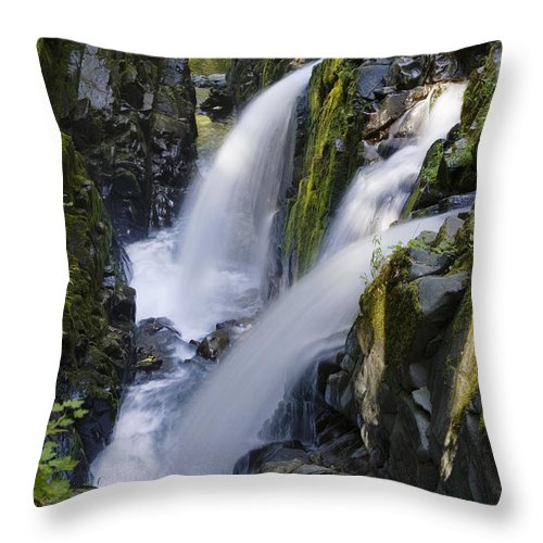 Mp Throw Pillow featuring the photograph Waterfalls Of Sol Duc River, Olympic by Konrad Wothe