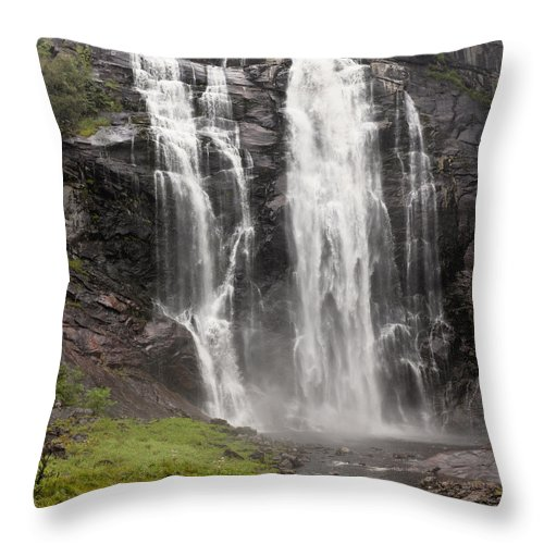 Blur Throw Pillow featuring the photograph Waterfalls Over A Cliff Norway by Keith Levit