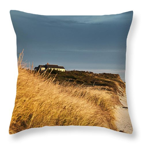 Cape Cod Throw Pillow featuring the photograph Waterfront Beach Cottage by John Greim